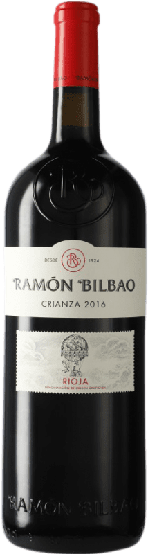 53,95 € Spedizione Gratuita | Vino rosso Ramón Bilbao Crianza D.O.Ca. Rioja La Rioja Spagna Tempranillo Bottiglia Speciale 5 L