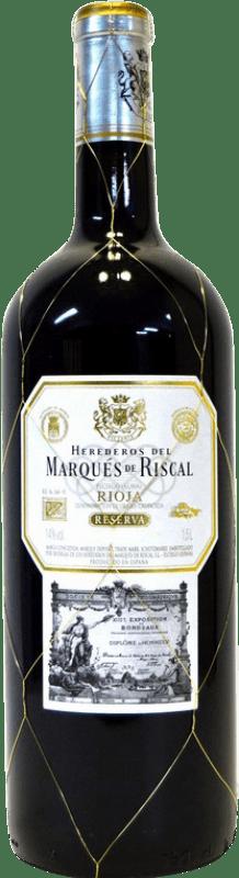 69,95 € Envoi gratuit   Vin rouge Marqués de Riscal Reserva D.O.Ca. Rioja La Rioja Espagne Tempranillo, Graciano, Mazuelo, Carignan Bouteille Jéroboam-Doble Magnum 3 L