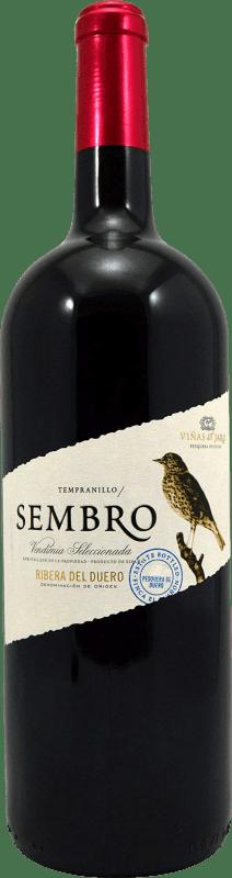 12,95 € Free Shipping | Red wine Viñas del Jaro Sembro D.O. Ribera del Duero Castilla y León Spain Tempranillo Magnum Bottle 1,5 L