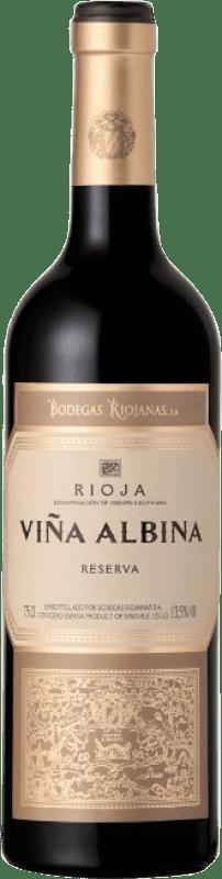 9,95 € Envío gratis | Vino tinto Bodegas Riojanas Viña Albina Negre Reserva D.O.Ca. Rioja La Rioja España Tempranillo, Graciano, Mazuelo, Cariñena Botella 75 cl