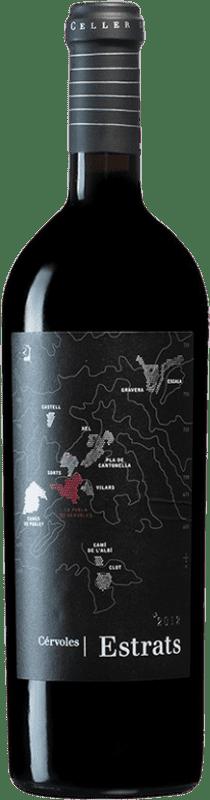 49,95 € Free Shipping | Red wine Cérvoles Estrats D.O. Costers del Segre Catalonia Spain Tempranillo, Merlot, Grenache, Cabernet Sauvignon Bottle 75 cl