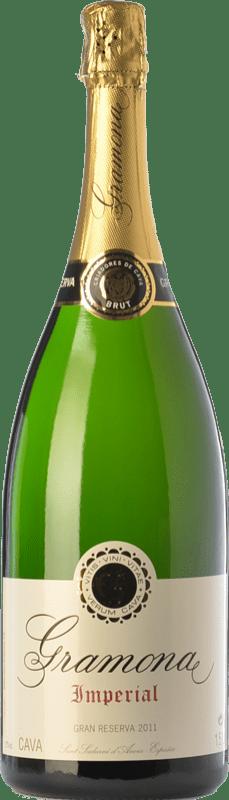 39,95 € Envio grátis | Espumante branco Gramona Imperial Brut Gran Reserva D.O. Cava Catalunha Espanha Macabeo, Xarel·lo, Chardonnay Garrafa Magnum 1,5 L