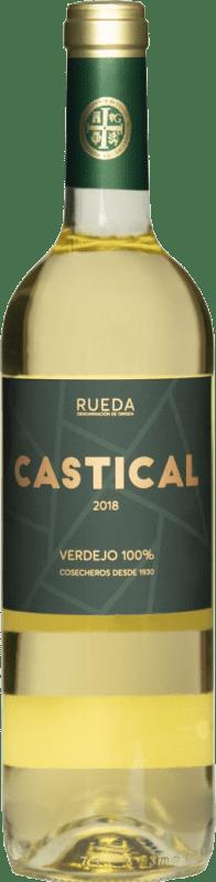 6,95 € Envoi gratuit | Vin blanc Thesaurus Castical Joven D.O. Rueda Castille et Leon Espagne Verdejo, Sauvignon Blanc Bouteille 75 cl