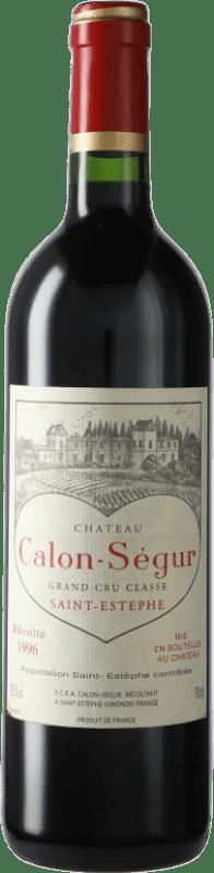186,95 € Envío gratis | Vino tinto Château Calon Ségur 1996 A.O.C. Bordeaux Burdeos Francia Merlot, Cabernet Sauvignon Botella 75 cl
