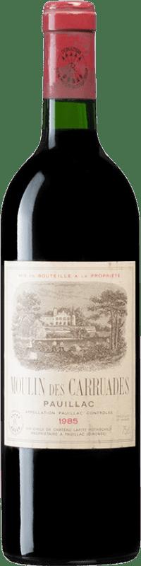 229,95 € Free Shipping | Red wine Barons de Rothschild Moulin des Carruades 1985 A.O.C. Bordeaux Bordeaux France Merlot, Cabernet Sauvignon, Cabernet Franc, Petit Verdot Bottle 75 cl