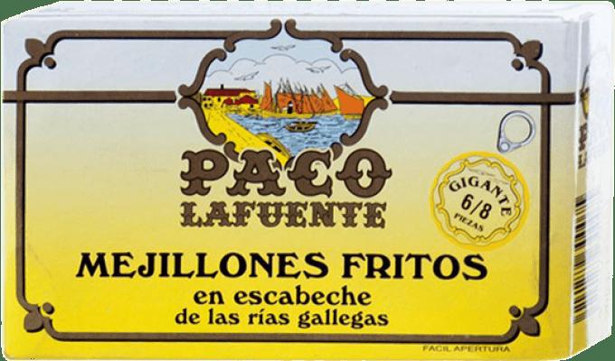 7,95 € Free Shipping | Conservas de Marisco Conservera Gallega Paco Lafuente Mejillones Fritos en Escabeche Gigante Galicia Spain 6/8 Pieces