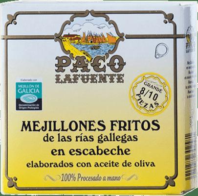 5,95 € Envío gratis | Conservas de Marisco Conservera Gallega Paco Lafuente Mejillones Fritos en Escabeche Galicia España 8/10 Piezas