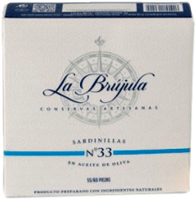 9,95 € Kostenloser Versand | Conservas de Pescado La Brújula Sardinillas Spanien 55/60 Stücke