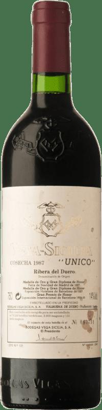 524,95 € Envío gratis | Vino tinto Vega Sicilia Único Gran Reserva 1987 D.O. Ribera del Duero Castilla y León España Tempranillo, Merlot, Cabernet Sauvignon Botella 75 cl